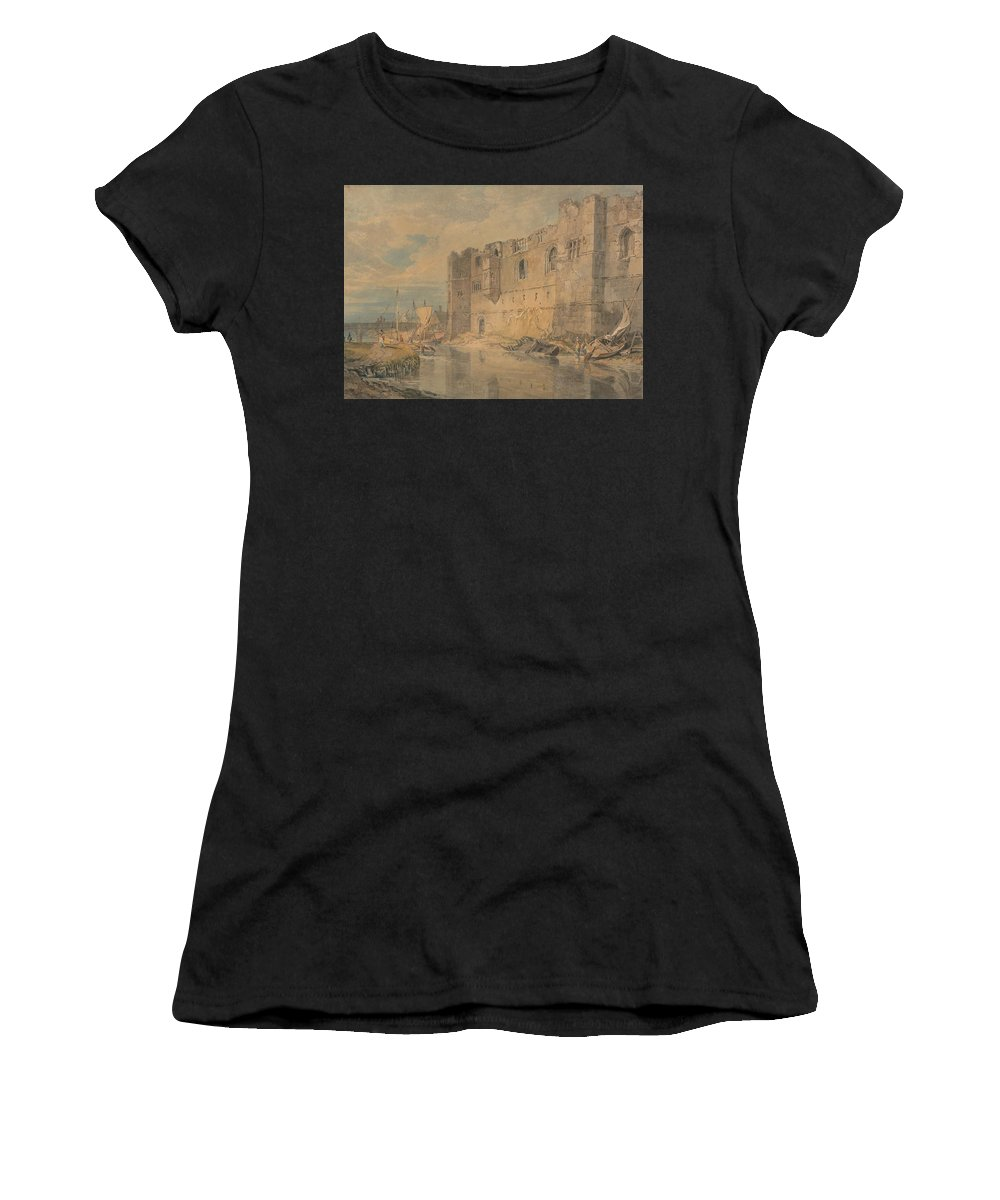Newark - Upon - Trent Women's T-Shirt (Athletic Fit) featuring the painting Newark - Upon - Trent by Grypons Art