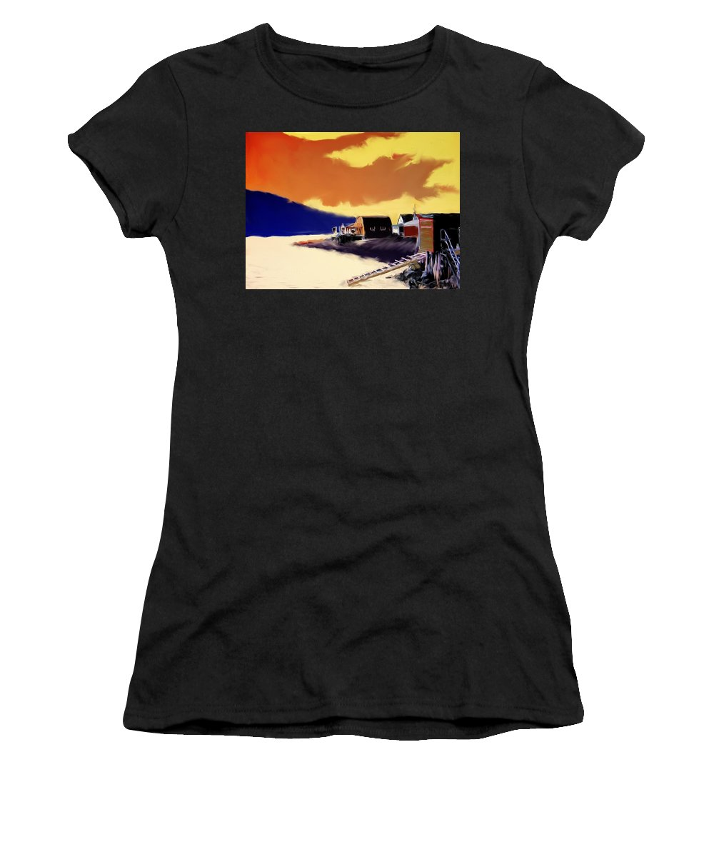 Newfoundland Women's T-Shirt (Athletic Fit) featuring the photograph Newfoundland Fishing Shacks by Ian MacDonald