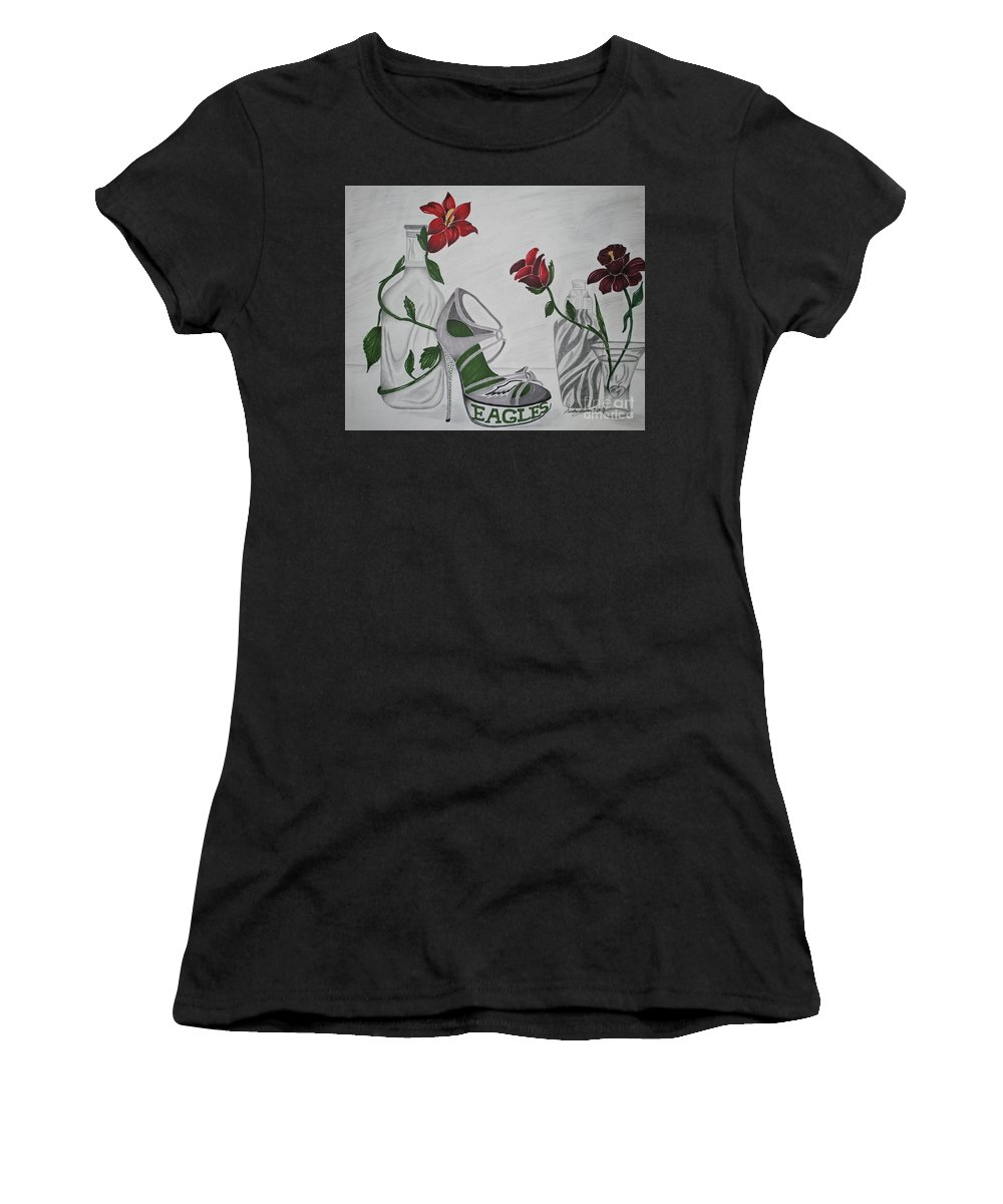 Eagles Women's T-Shirt featuring the drawing Nfl Eagles Stiletto by Audrey Lindsey
