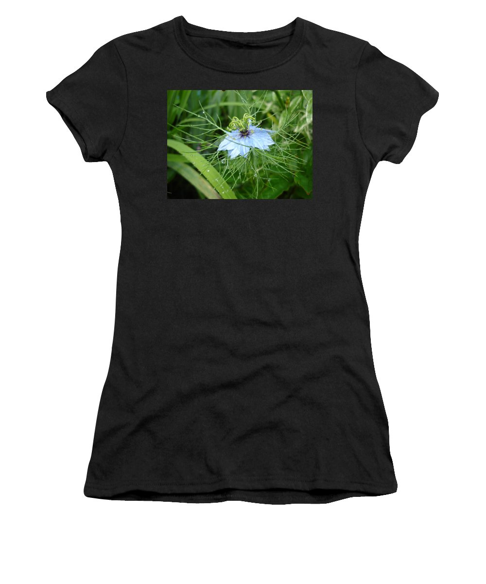 Flower Women's T-Shirt (Athletic Fit) featuring the photograph Nigella In Spring Rain by Susan Baker