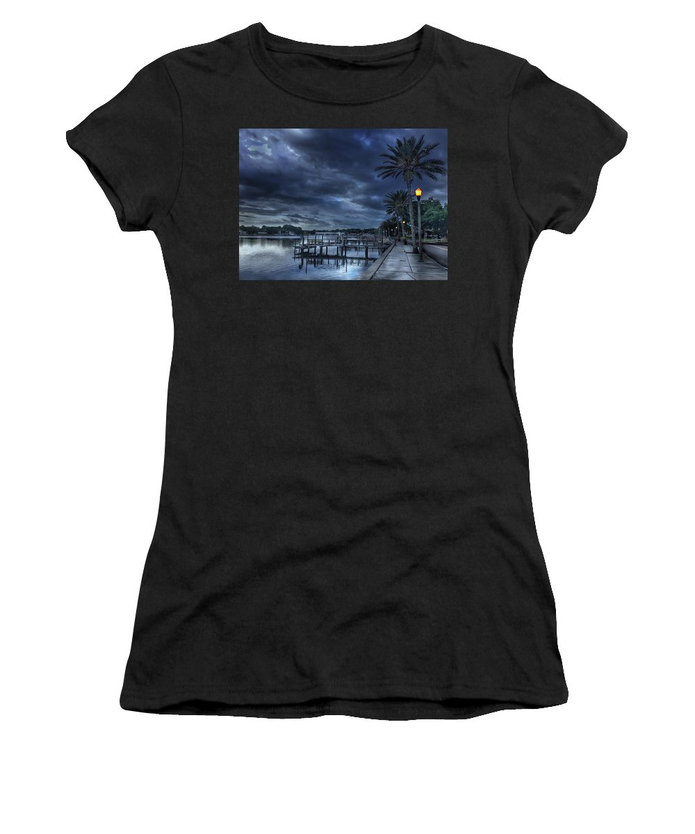 Coffee Pot Bayou Women's T-Shirt (Athletic Fit) featuring the photograph Night At The Bayou by Joe LeGrand