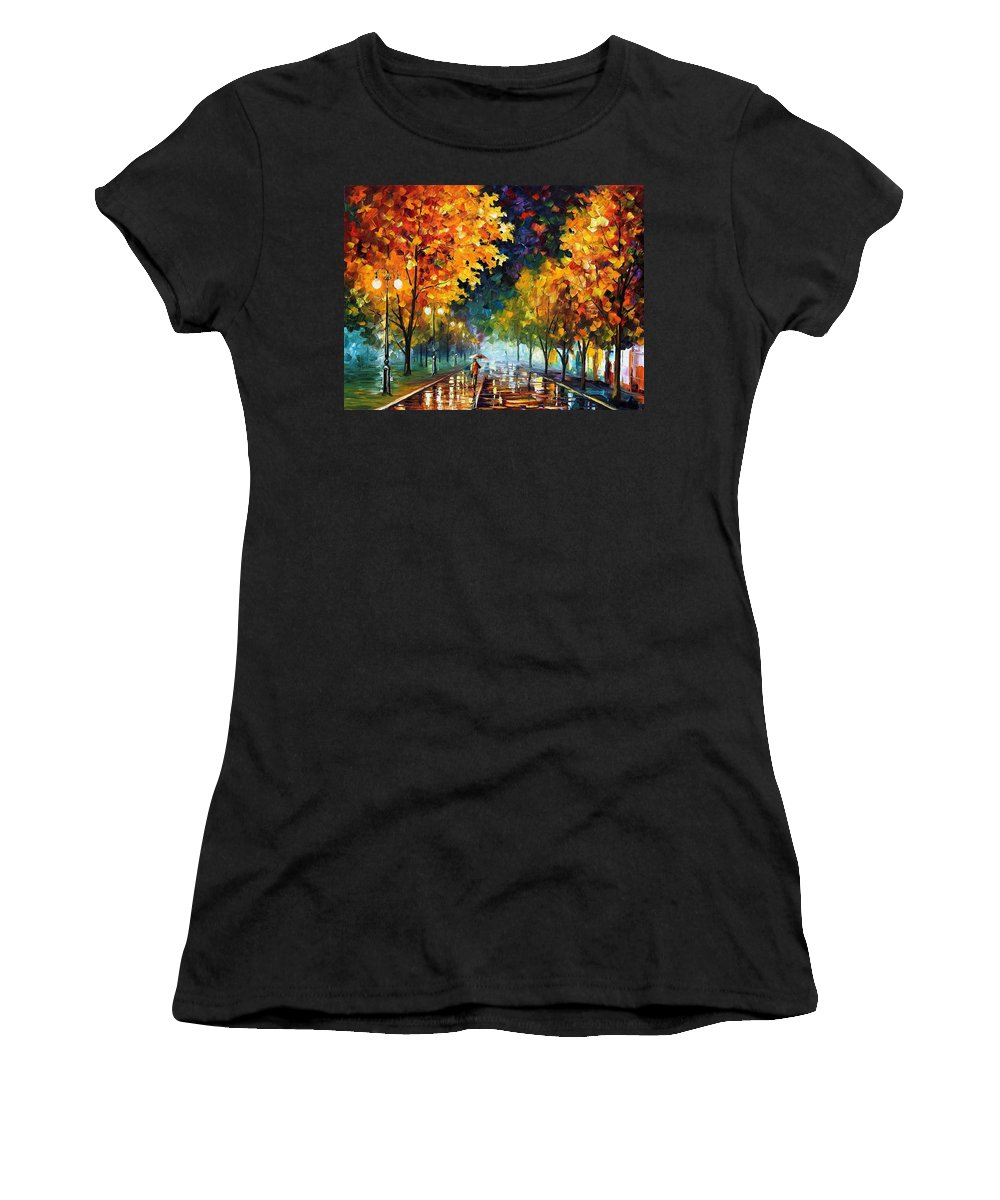 Afremov Women's T-Shirt featuring the painting Night Autumn Park by Leonid Afremov
