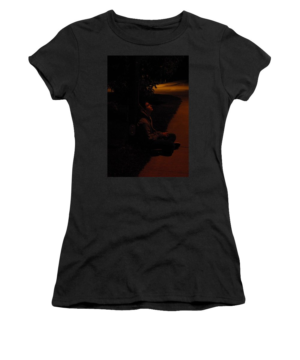 Night Women's T-Shirt featuring the photograph Night Boy by Cindy Johnston