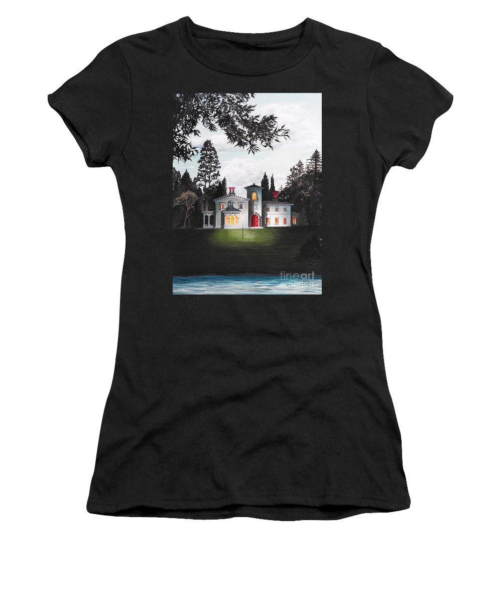 Architecture Women's T-Shirt featuring the drawing Italian House Country House Detail From Night Bridge by Melissa A Benson