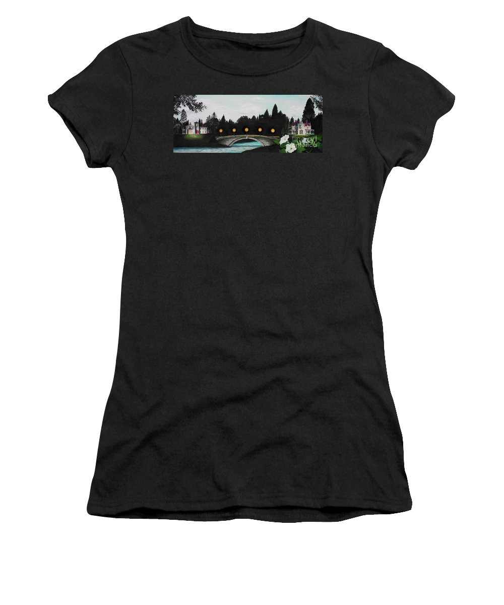 Architecture Women's T-Shirt (Athletic Fit) featuring the painting Night Bridge by Melissa A Benson