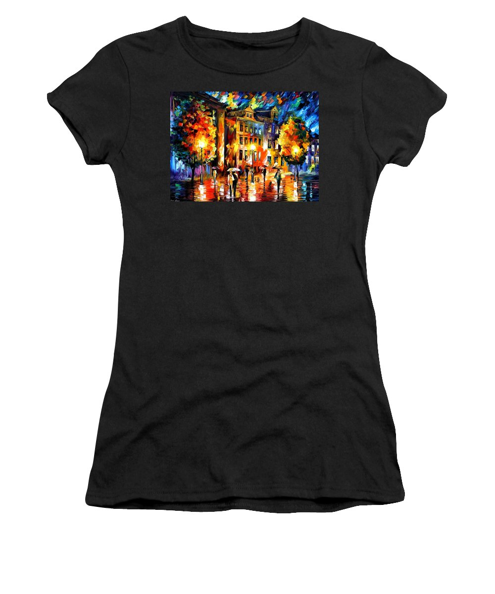 Afremov Women's T-Shirt (Athletic Fit) featuring the painting Night Enigma by Leonid Afremov