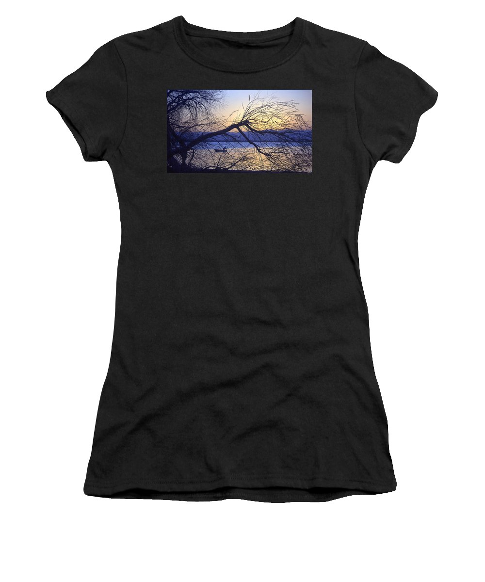 Barr Lake Women's T-Shirt (Athletic Fit) featuring the photograph Night Fishing In Barr Lake Colorado by Merja Waters