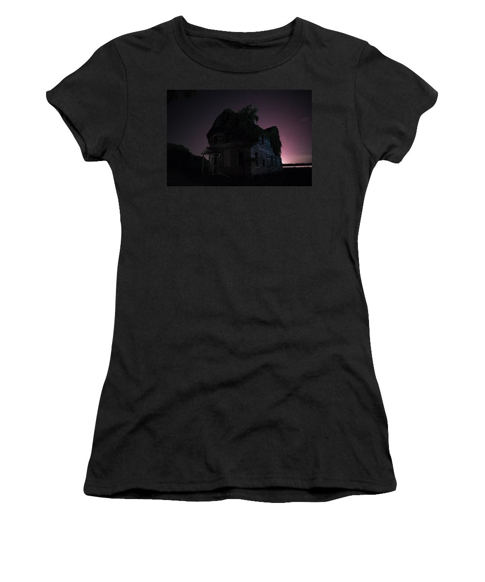 Abandoned Women's T-Shirt (Athletic Fit) featuring the photograph Night House by Benjamin Dunlap