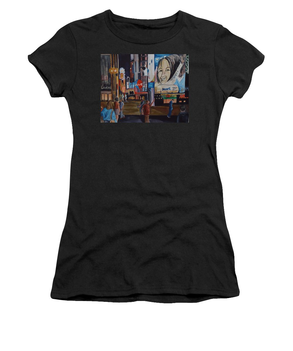 City Women's T-Shirt (Athletic Fit) featuring the painting Night In Time Square by Charme Curtin