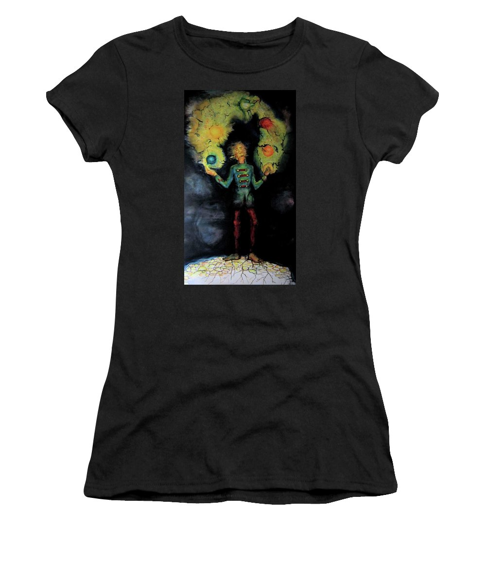 Mystical Women's T-Shirt (Athletic Fit) featuring the painting Night Juggler by Marilyn Green
