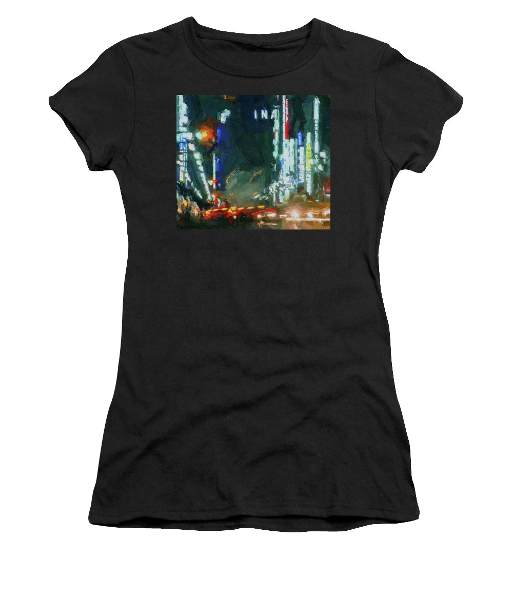 Hong Women's T-Shirt featuring the digital art Night Lights City by Yury Malkov