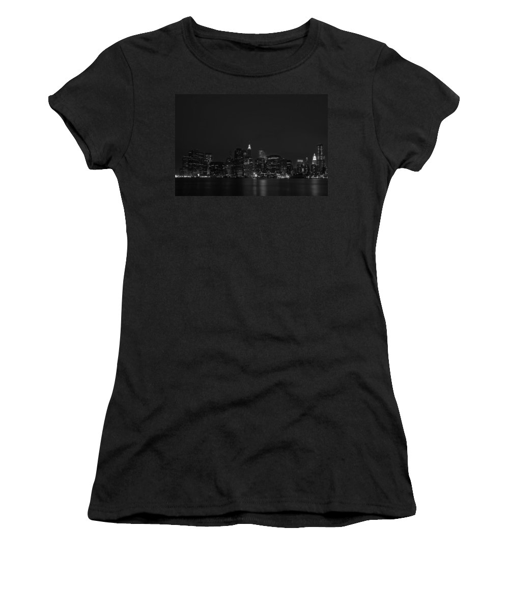 Bridge Women's T-Shirt (Athletic Fit) featuring the photograph Night Lights by Evelina Kremsdorf