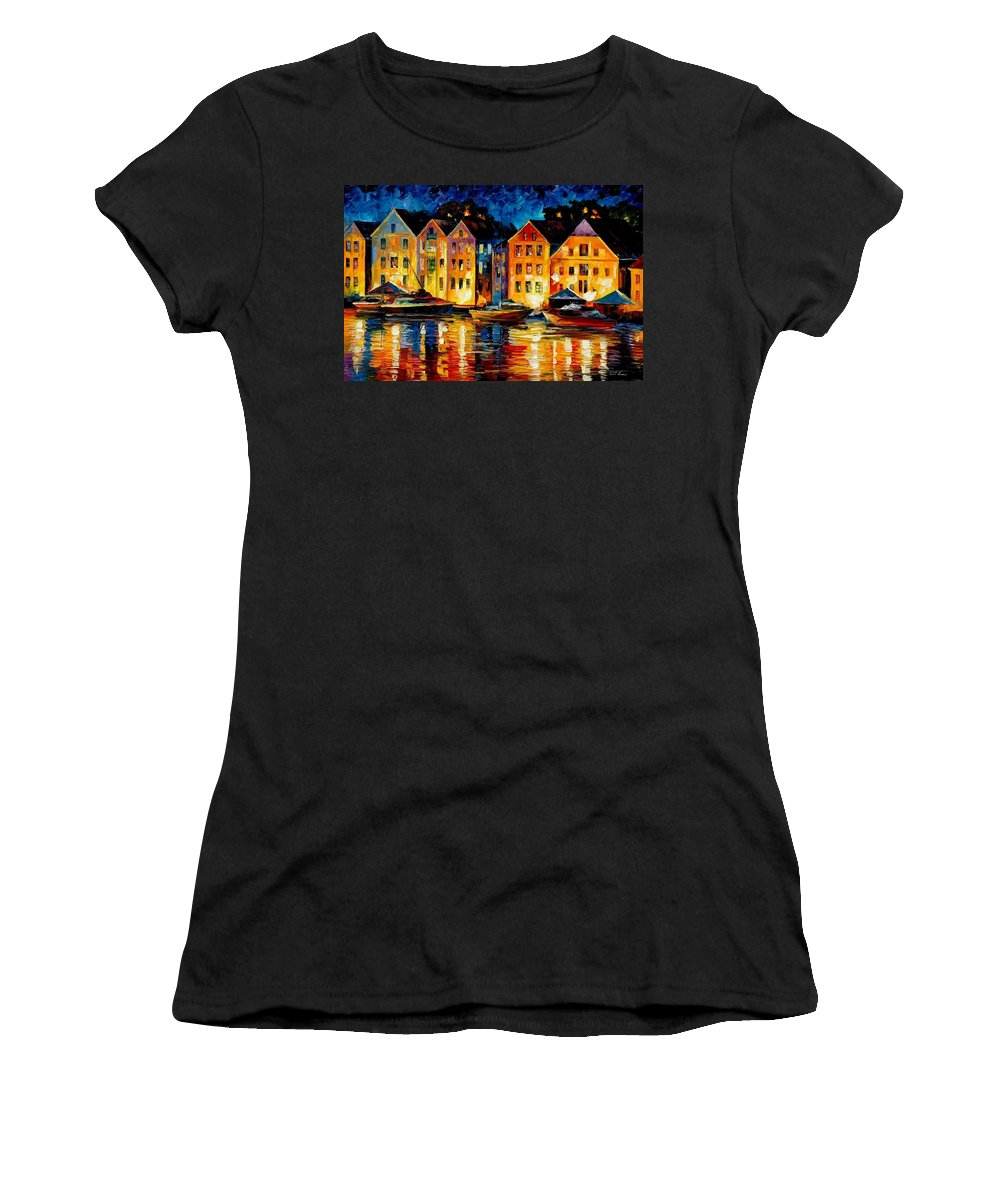 City Women's T-Shirt (Athletic Fit) featuring the painting Night Resting Original Oil Painting by Leonid Afremov