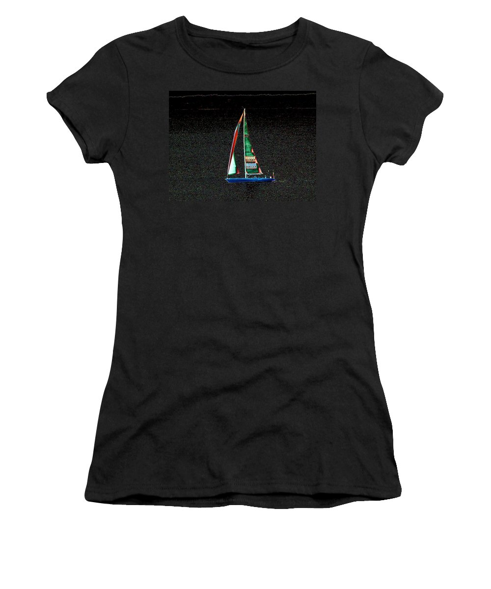 Seattle Women's T-Shirt featuring the photograph Night Sail 2 by Tim Allen