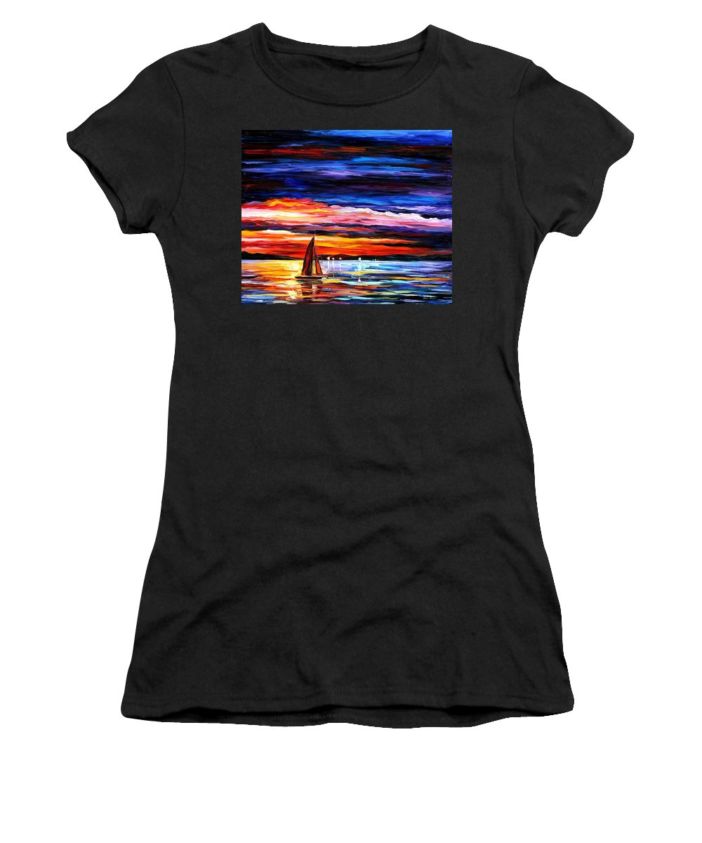 Seascape Women's T-Shirt (Athletic Fit) featuring the painting Night Sea by Leonid Afremov