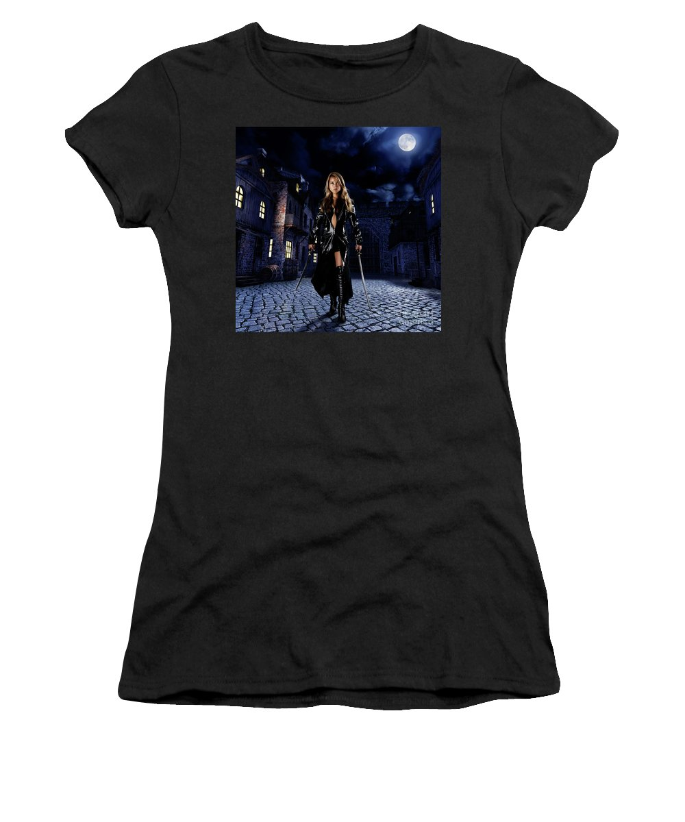 Woman Women's T-Shirt (Athletic Fit) featuring the photograph Night Warrior by Oleksiy Maksymenko