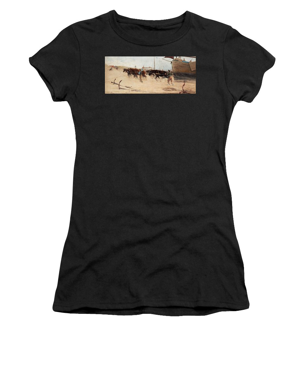 Nature Women's T-Shirt (Athletic Fit) featuring the painting Nils Kreuger,  From The Dutch Coast. by Nils Kreuger