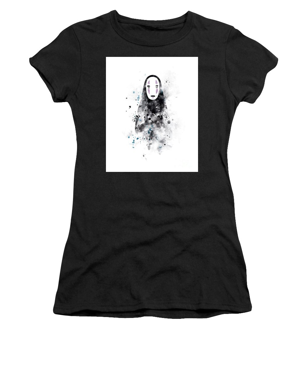 No Face Women's T-Shirt (Athletic Fit) featuring the mixed media No Face by Monn Print
