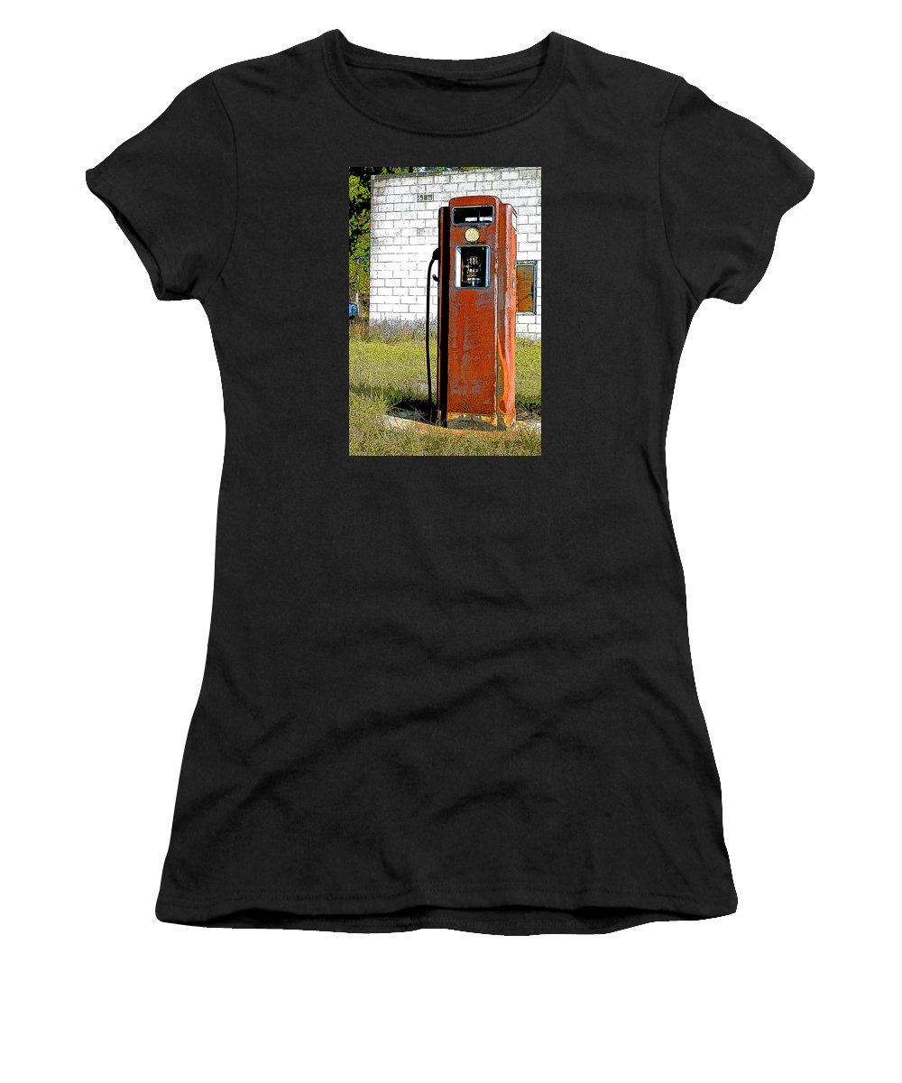 Gas Station Women's T-Shirt (Athletic Fit) featuring the photograph No Gas Today by Shirley Sykes Bracken