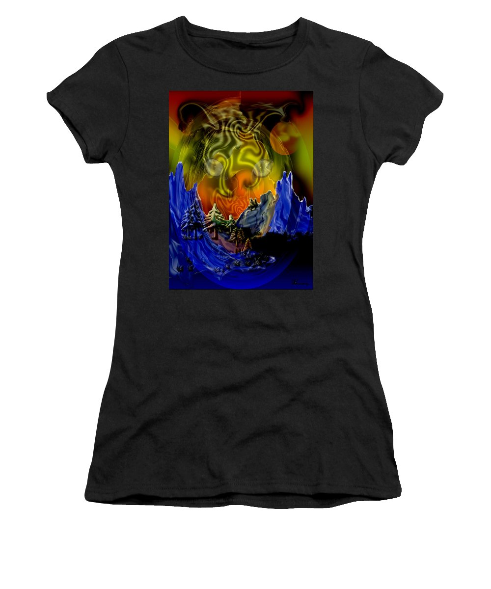 Mountains Cat Trees Abstract Tiger Moon Women's T-Shirt (Athletic Fit) featuring the digital art No Intrusions by Andrea Lawrence