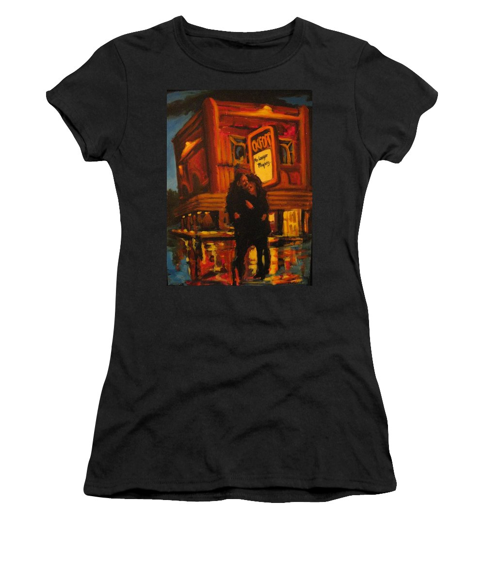 Wet Streets Women's T-Shirt (Athletic Fit) featuring the painting No Longer Playing by John Malone