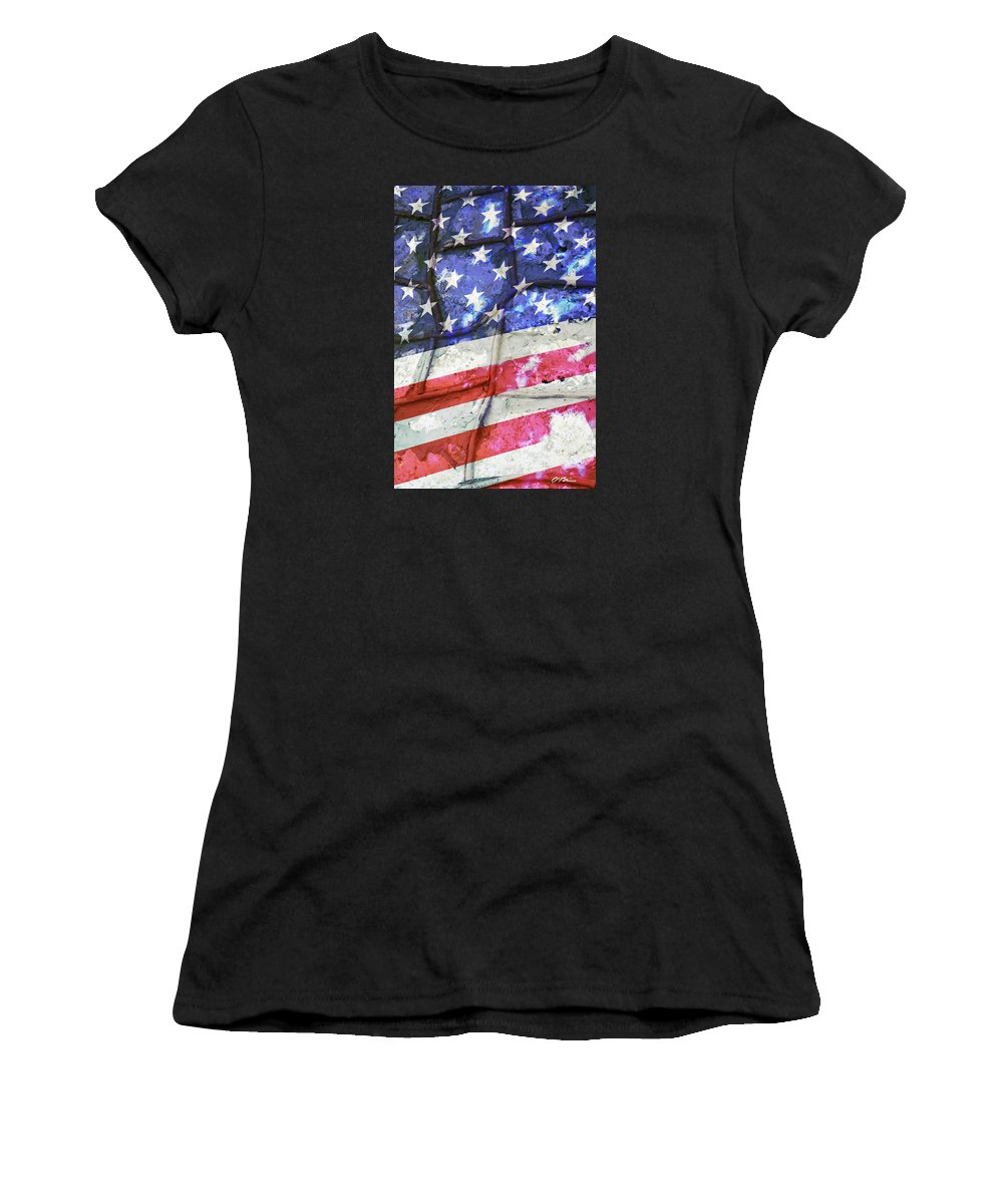Flag Women's T-Shirt (Athletic Fit) featuring the digital art No Matter What Divides Us by Claudia O'Brien