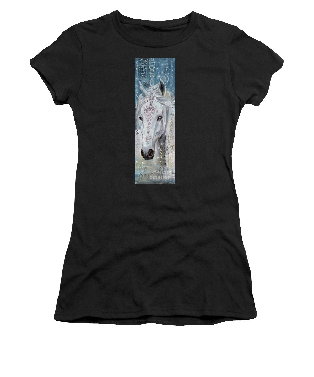 White Women's T-Shirt featuring the painting Noble One by Manami Lingerfelt