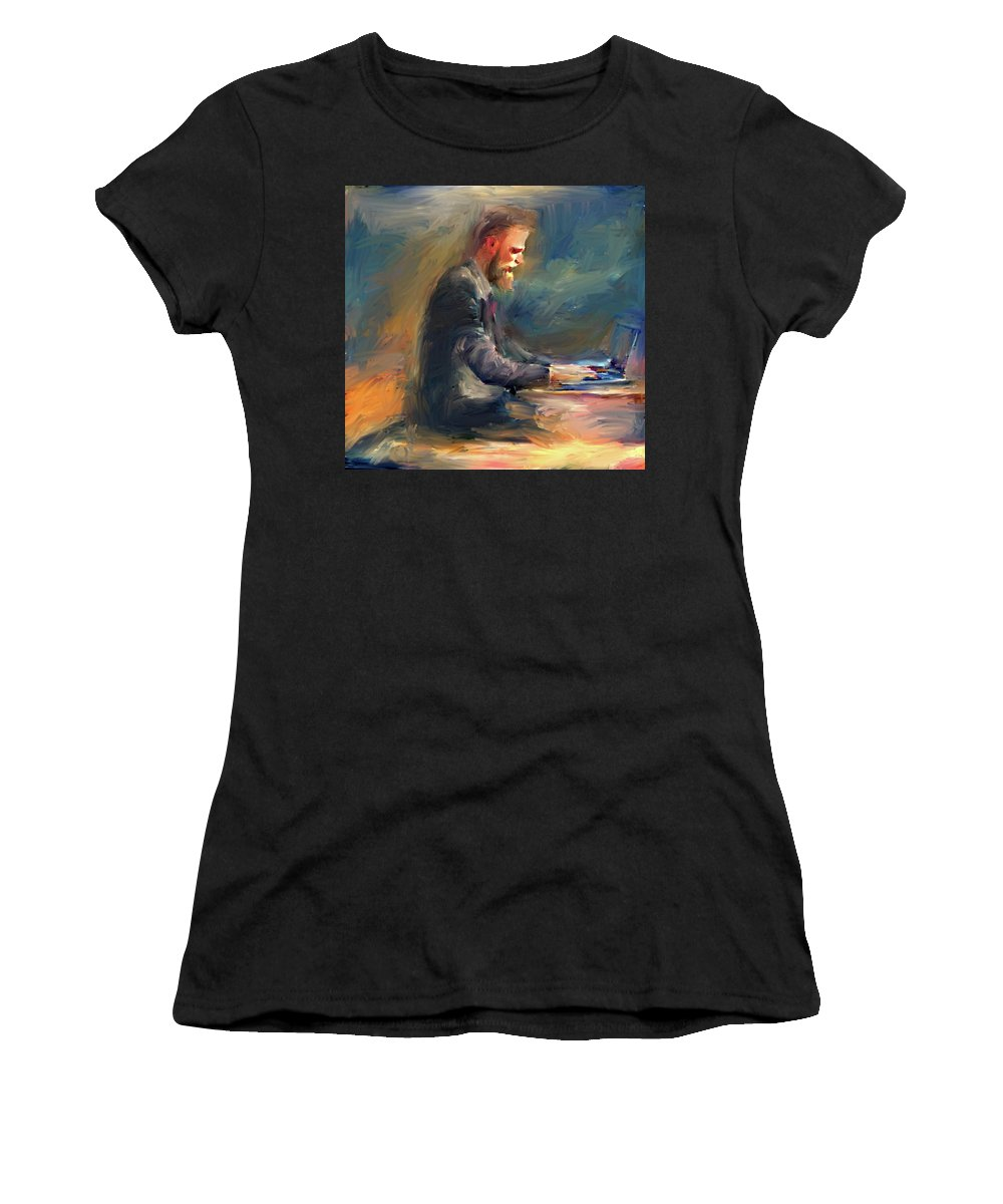 Symbol Women's T-Shirt (Athletic Fit) featuring the digital art Non Stop Business by Yury Malkov