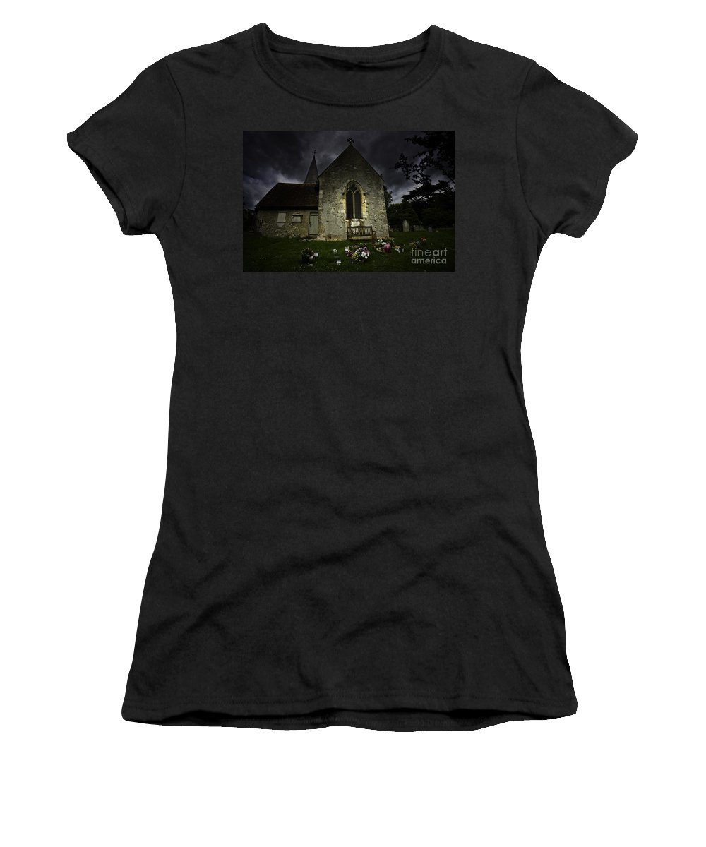 Church Women's T-Shirt (Athletic Fit) featuring the photograph Norman Church At Lissing Hampshire England by Avalon Fine Art Photography
