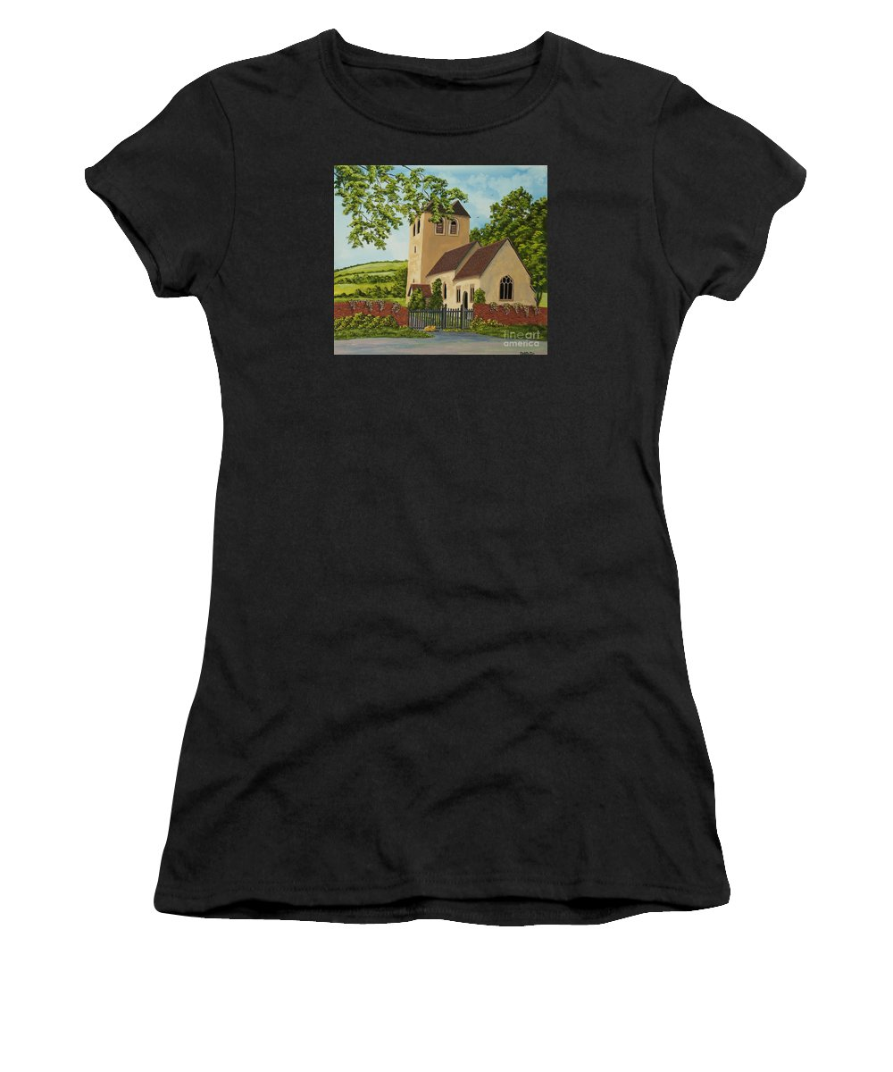 Church Women's T-Shirt (Athletic Fit) featuring the painting Norman Church In Fingest by Charlotte Blanchard