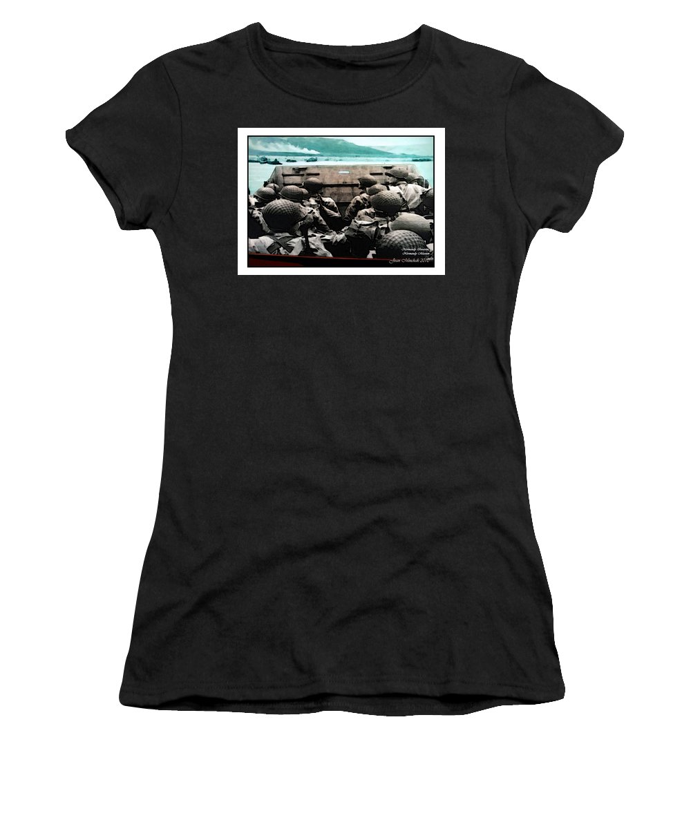 American Women's T-Shirt (Athletic Fit) featuring the photograph Normandy Soldiers by Joan Minchak