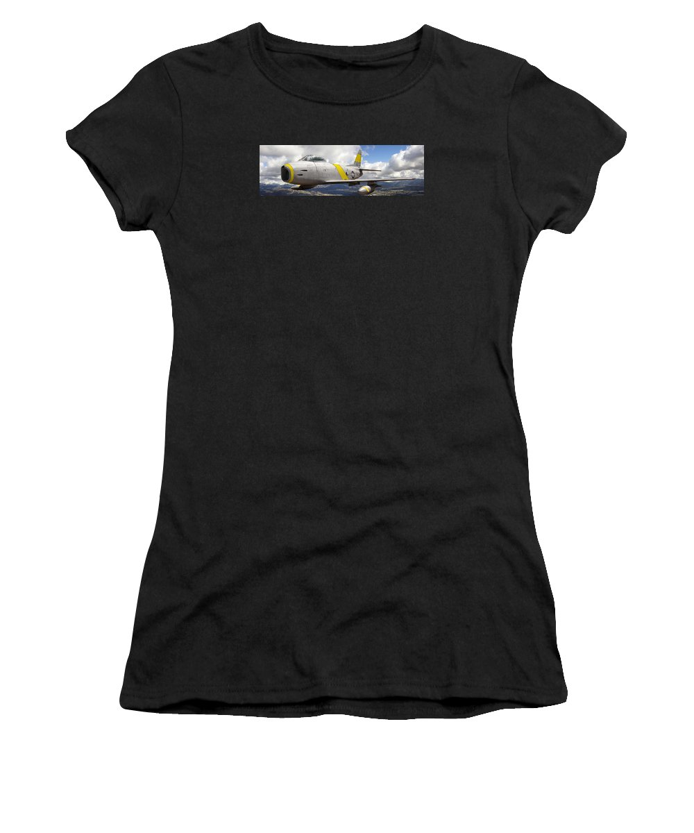 F-86 Sabre Women's T-Shirt (Athletic Fit) featuring the photograph North American F-86 Sabre by Larry McManus