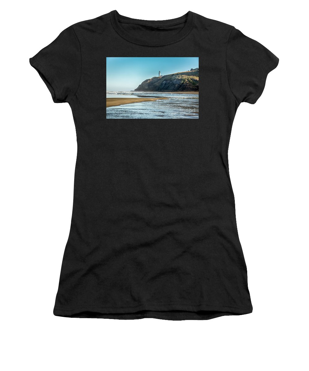 Beach Women's T-Shirt featuring the photograph North Head Lighthouse With The Morning Light by Robert Bales