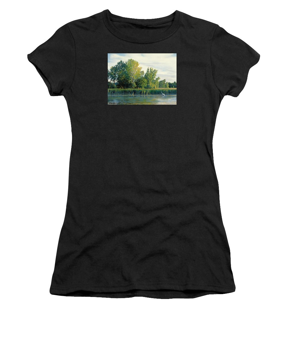 Great Egret Women's T-Shirt featuring the drawing North Of The Grade-great Egret by Bruce Morrison