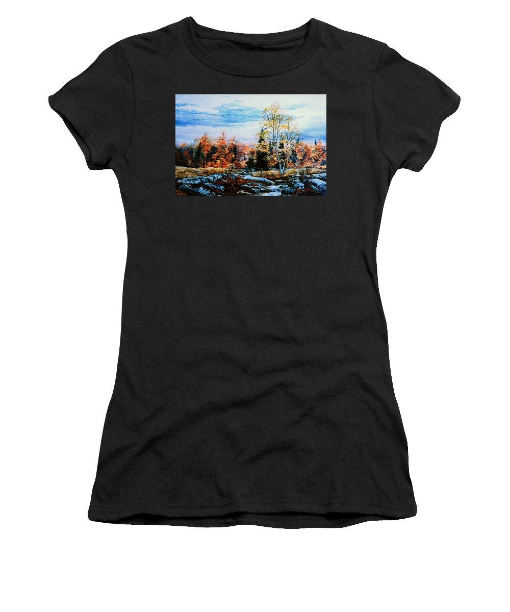Northern Gold Painting Women's T-Shirt (Athletic Fit) featuring the painting Northern Gold by Hanne Lore Koehler