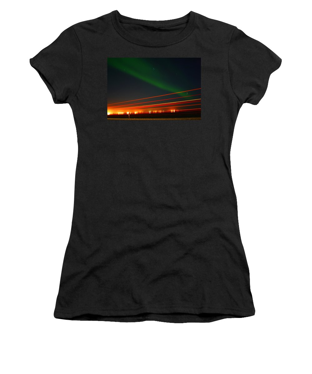 Northern Lights Women's T-Shirt (Athletic Fit) featuring the photograph Northern Lights by Anthony Jones