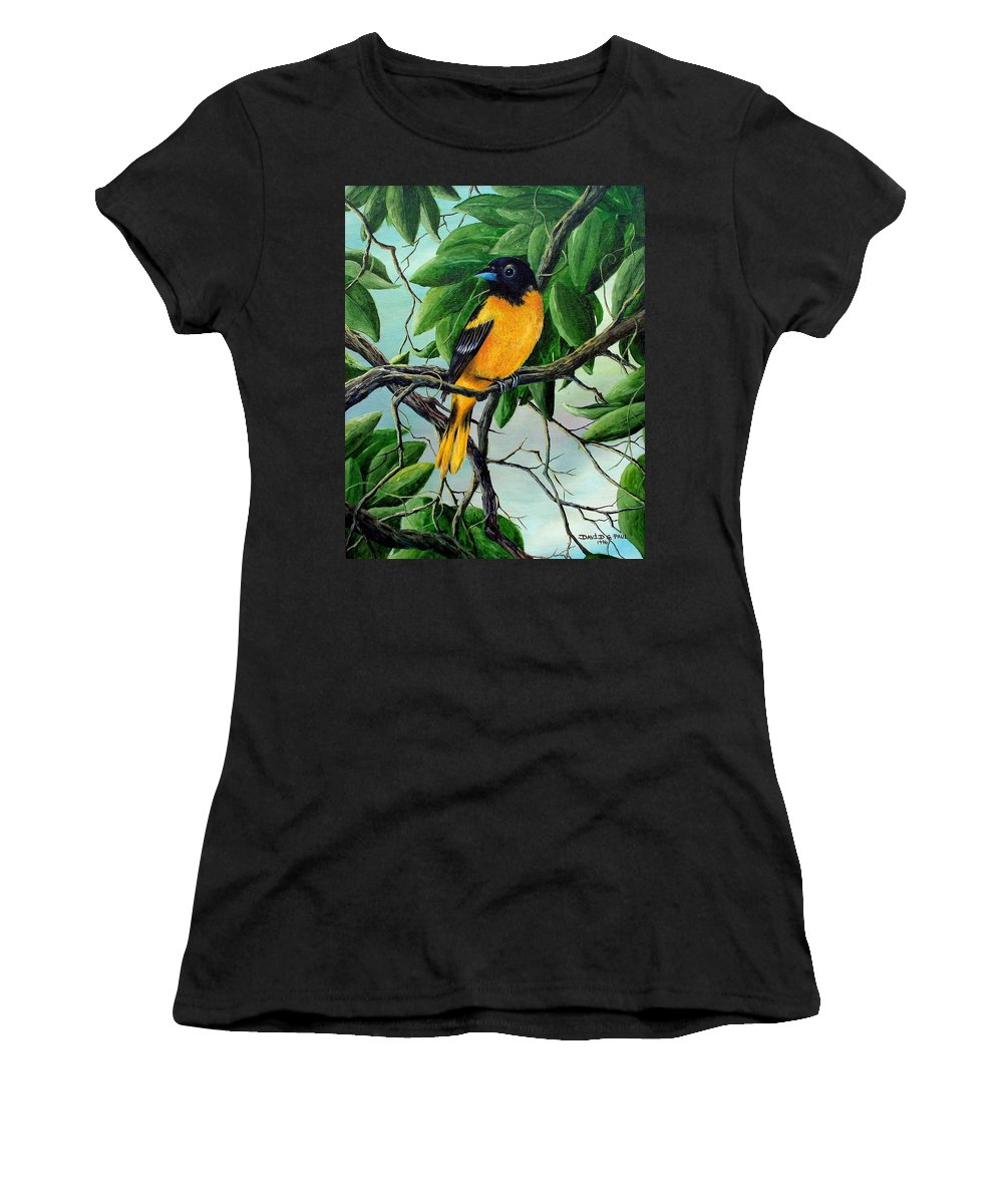 Oriole Women's T-Shirt (Athletic Fit) featuring the painting Northern Oriole by David G Paul