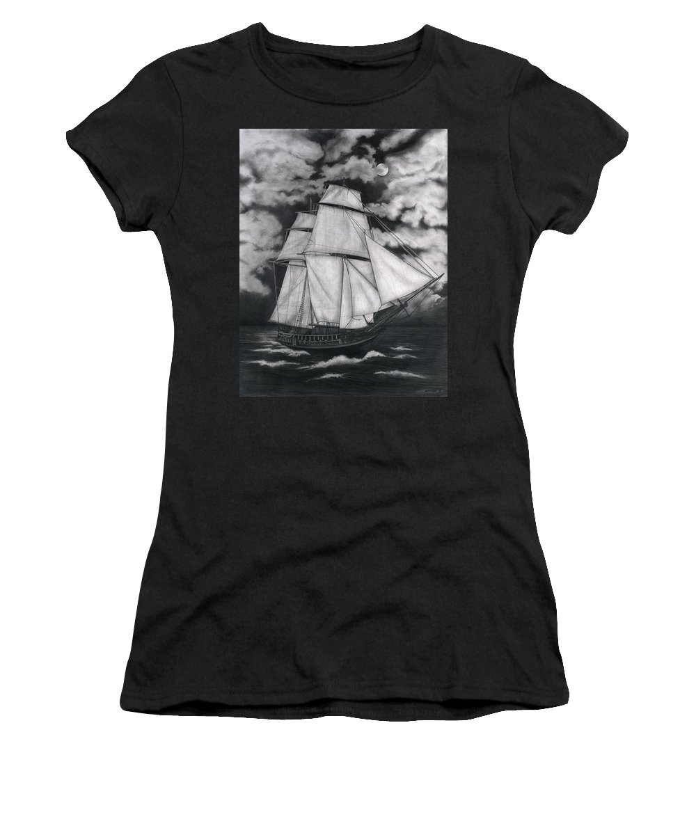 Ship Sailing Into The Northern Winds Women's T-Shirt (Athletic Fit) featuring the drawing Northern Winds by Larry Lehman