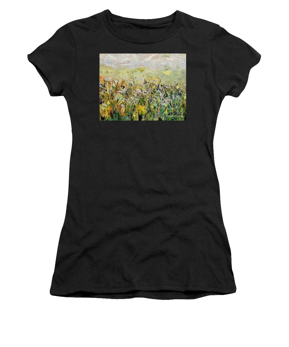 Field Paintings Women's T-Shirt (Athletic Fit) featuring the painting Nose Hill by Seon-Jeong Kim