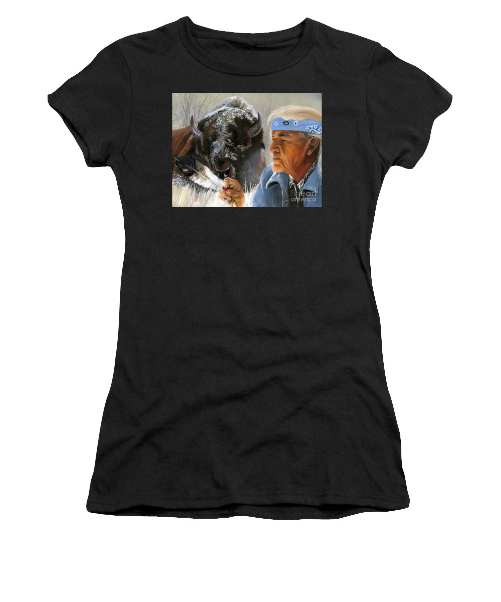 Southwest Art Women's T-Shirt (Athletic Fit) featuring the painting Nothing Is Ever Forgotten by J W Baker