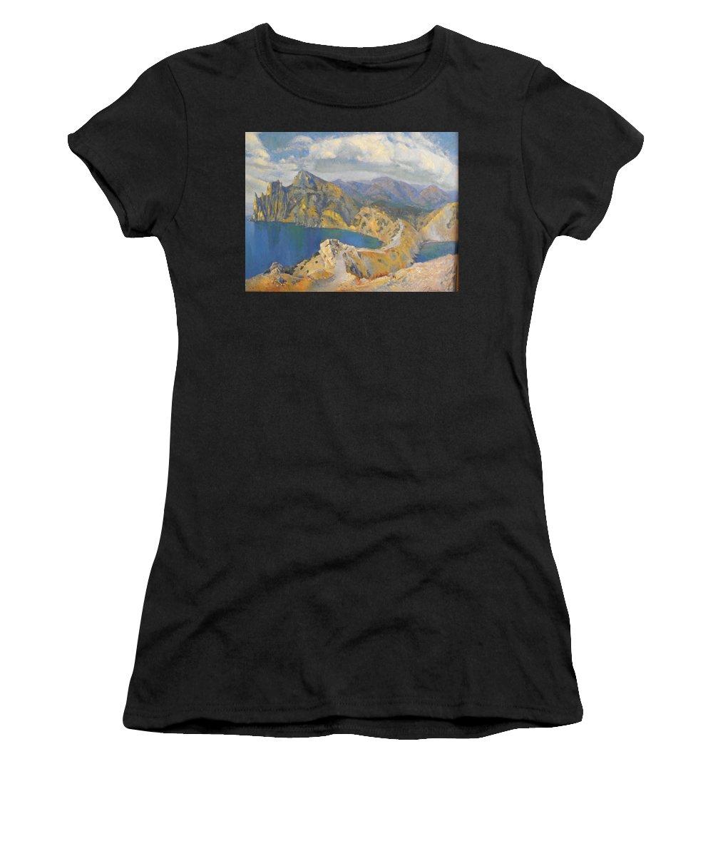 Seascape Women's T-Shirt (Athletic Fit) featuring the painting Noviy Svet , Crimea by Tanya Balaeva