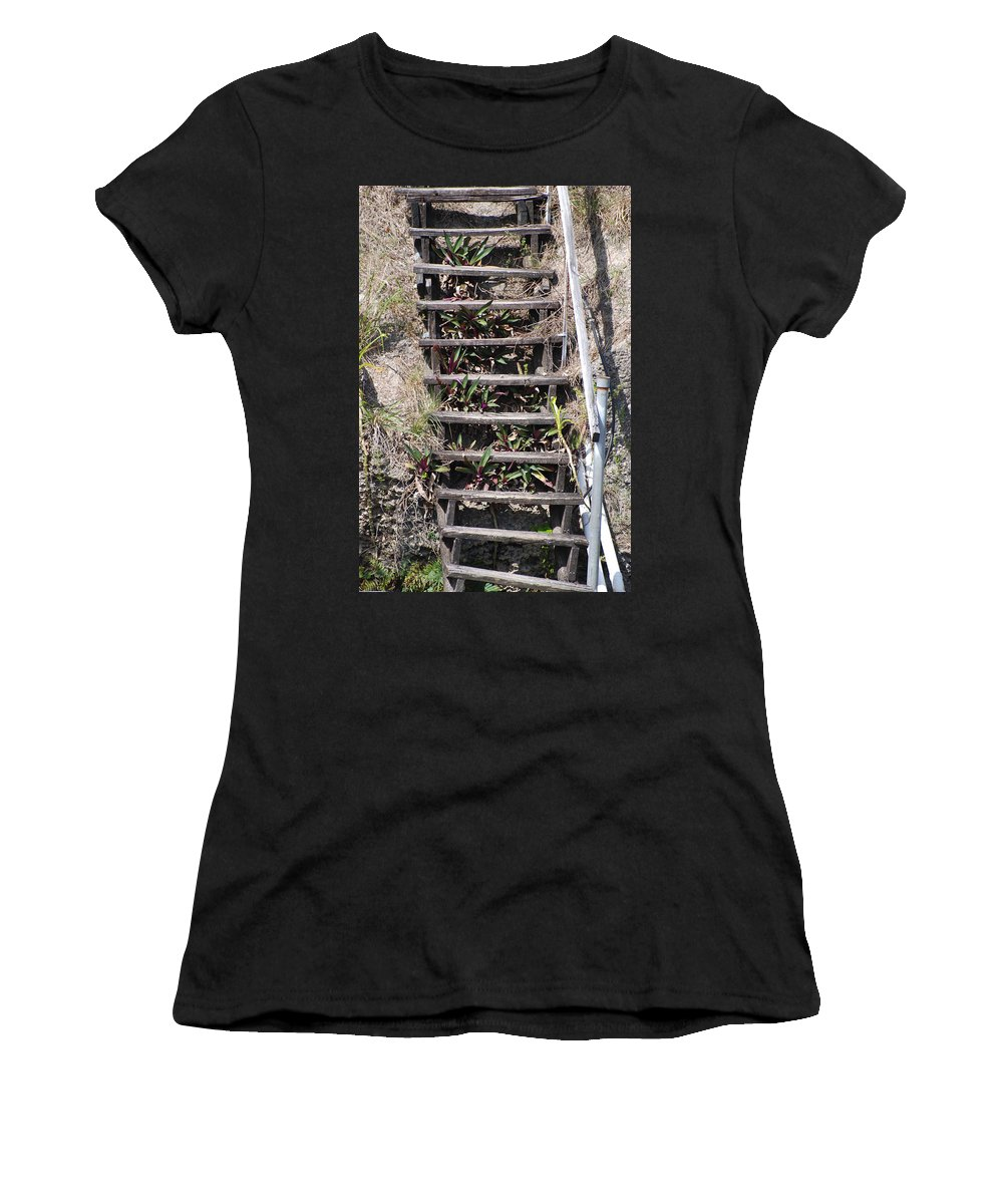 Stairs Women's T-Shirt (Athletic Fit) featuring the photograph Nowhere Stairs by Rob Hans