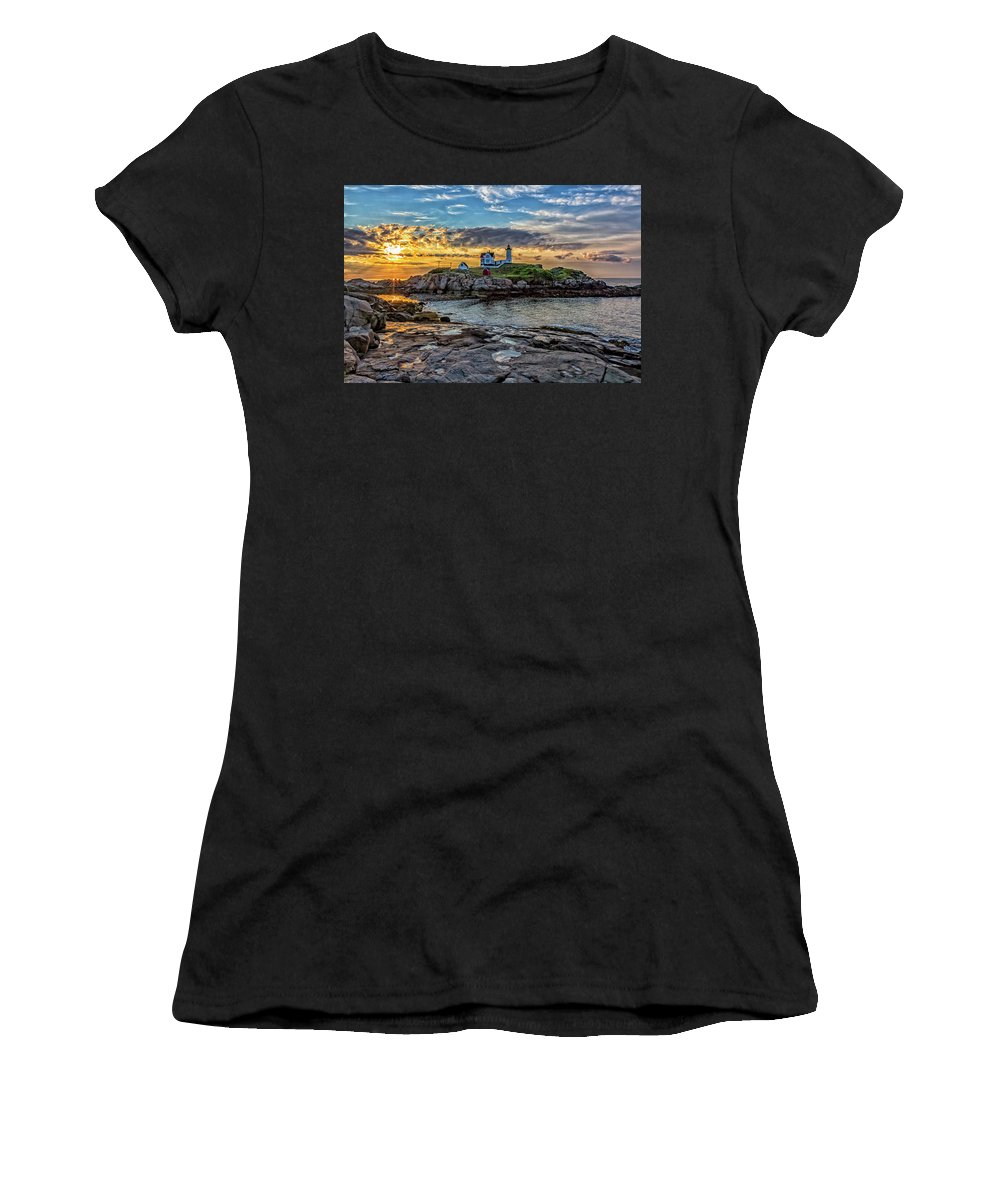 York Maine Women's T-Shirt (Athletic Fit) featuring the photograph Nubble Light At Sunrise by Larry Richardson