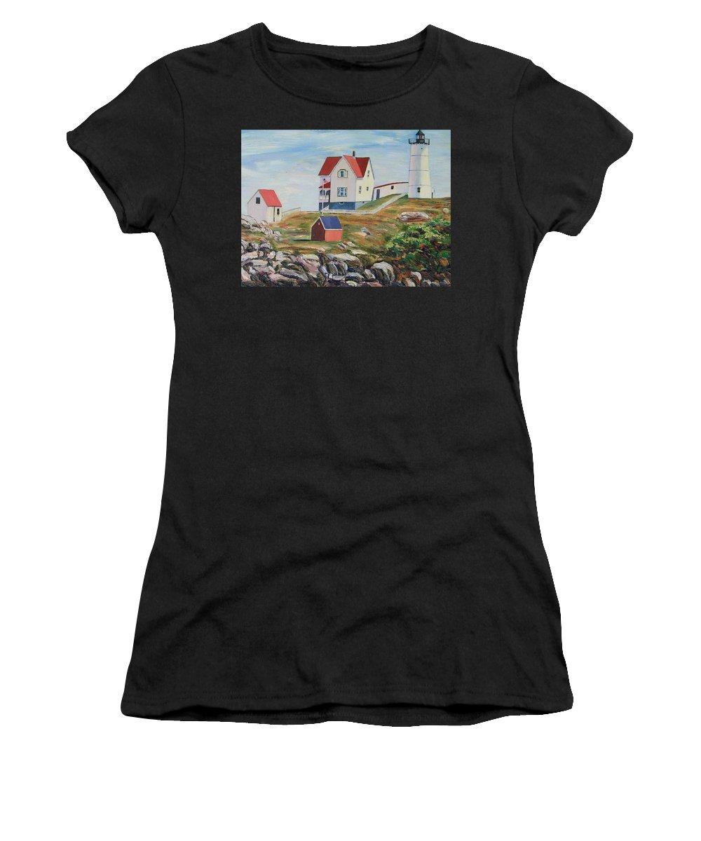Nubble Light House Women's T-Shirt (Athletic Fit) featuring the painting Nubble Light House Maine by Richard Nowak