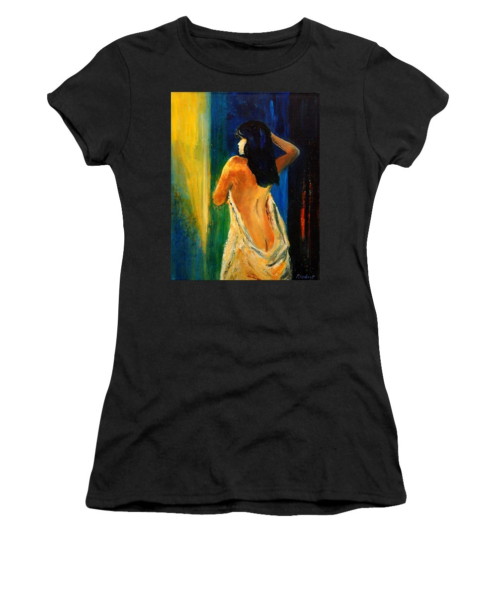 Girl Women's T-Shirt (Athletic Fit) featuring the painting Nude 459070 by Pol Ledent