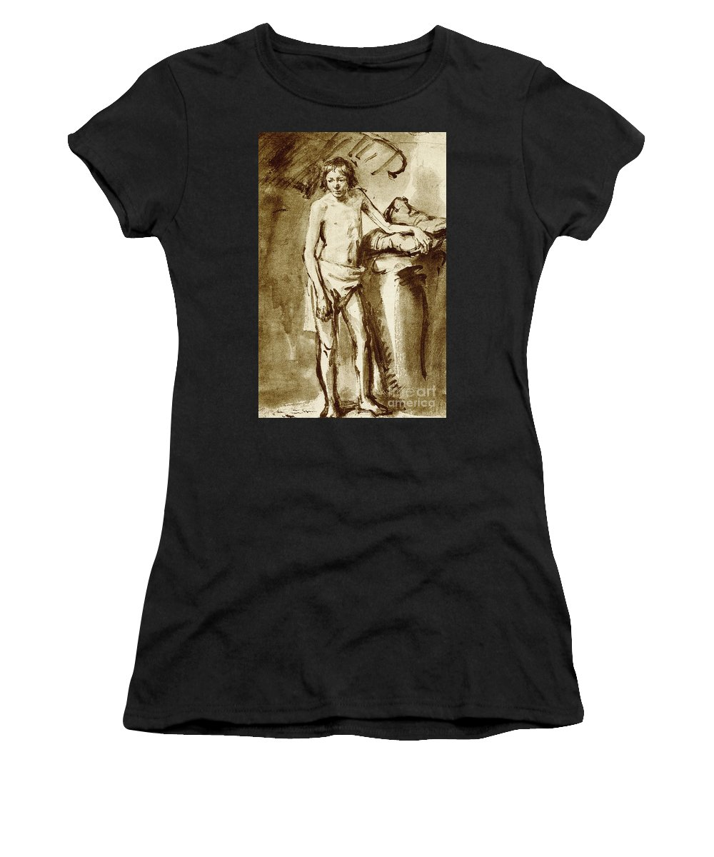 Rembrandt Women's T-Shirt featuring the drawing Nude Drawing For A Youth by Rembrandt Harmensz van Rijn