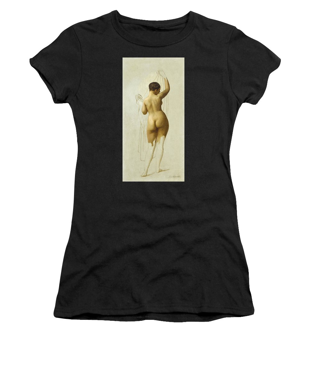 Jean-leon Gerome Women's T-Shirt (Athletic Fit) featuring the painting Nude. Queen Rodophe by Jean-Leon Gerome