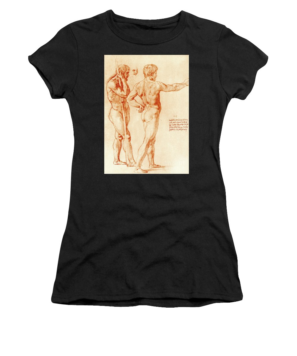 Raphael Women's T-Shirt featuring the drawing Nude Study Of Two Warriors by Raphael