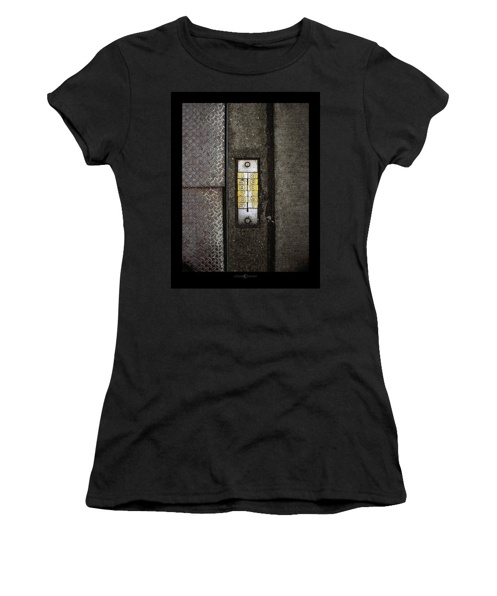 Numbers Women's T-Shirt (Athletic Fit) featuring the photograph Numbers On The Sidewalk by Tim Nyberg