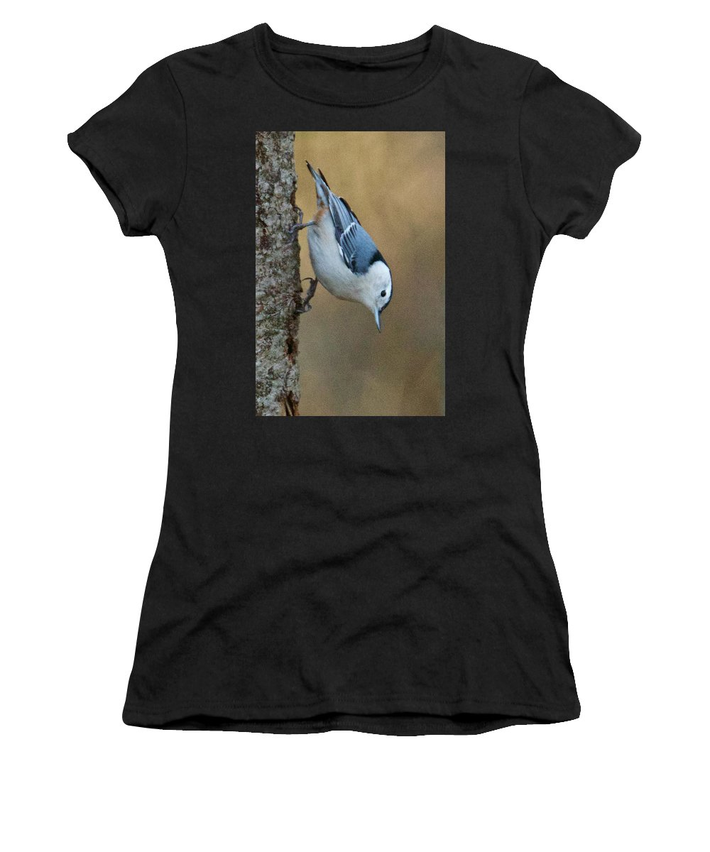 White-breasted Women's T-Shirt (Athletic Fit) featuring the photograph Nuthatch In Profile by Michael Peychich